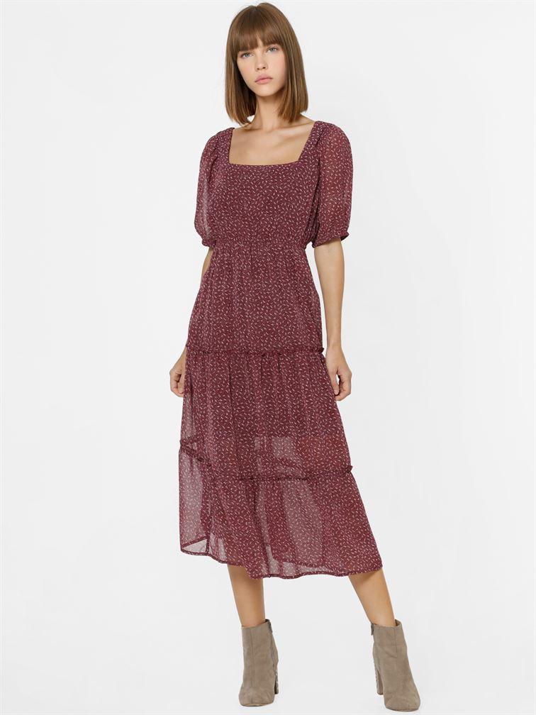Only Women Casual Wear Maroon A-line Dress