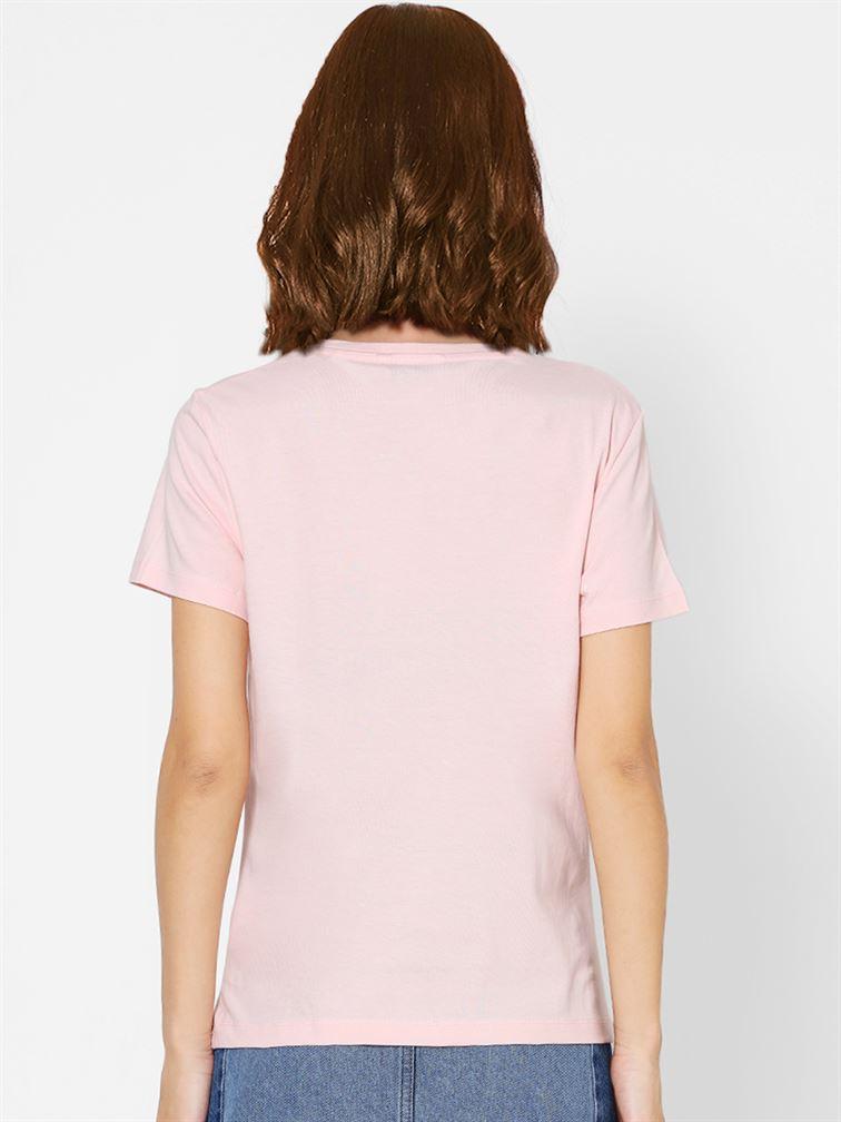 Only Women Casual Wear Pink T-Shirt