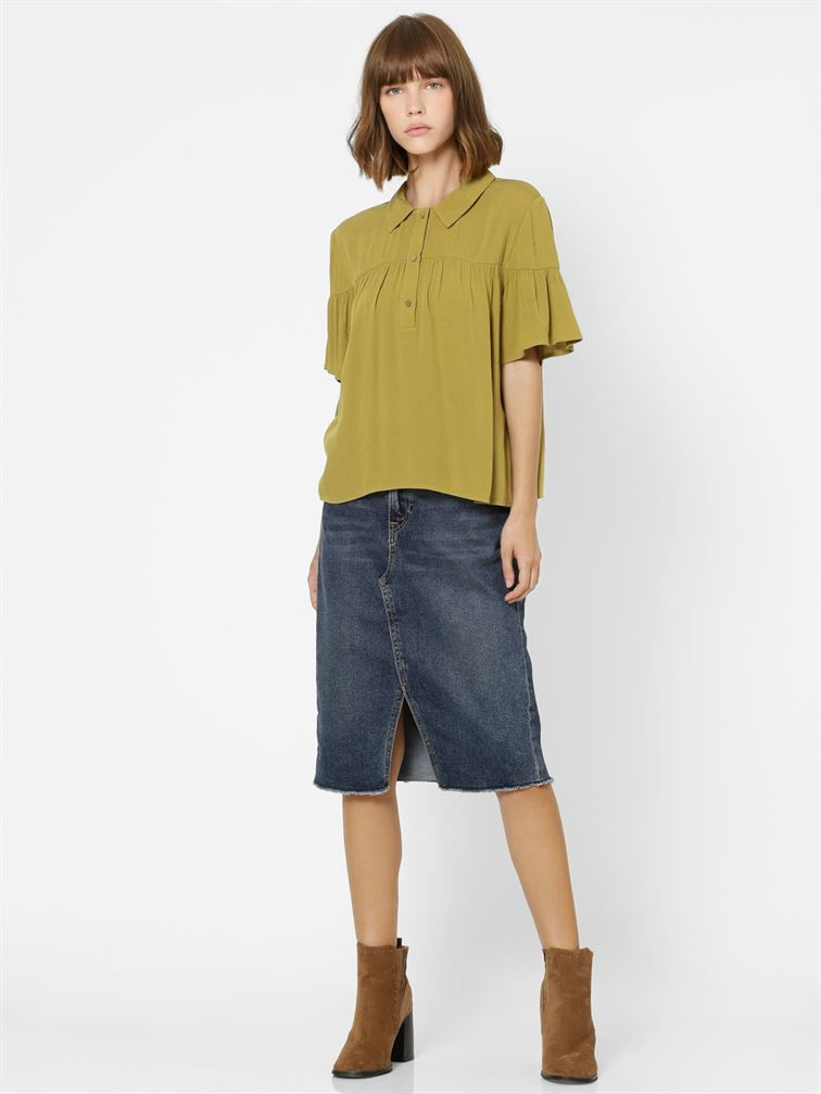 Only Women Casual Wear Olive Shirt
