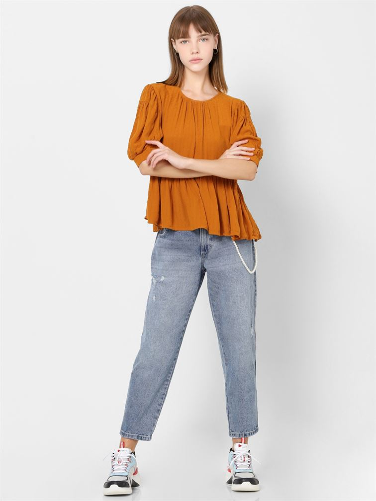 Only Women Casual Wear Orange Peplum Top