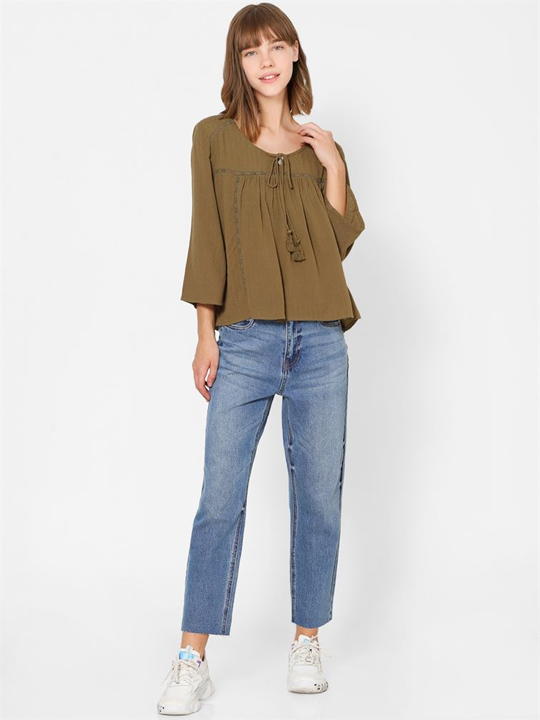 Only Women Casual Wear Olive Top