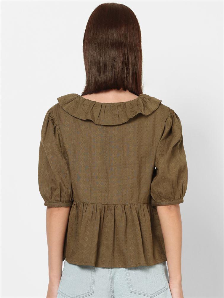 Only Women Casual Wear Olive Peplum Top