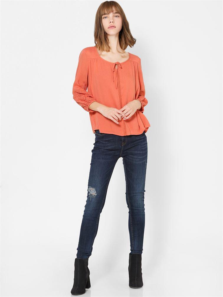 Only Women Casual Wear Orange Top