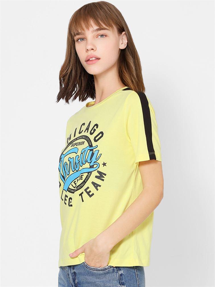 Only Women Casual Wear Yellow T-Shirt