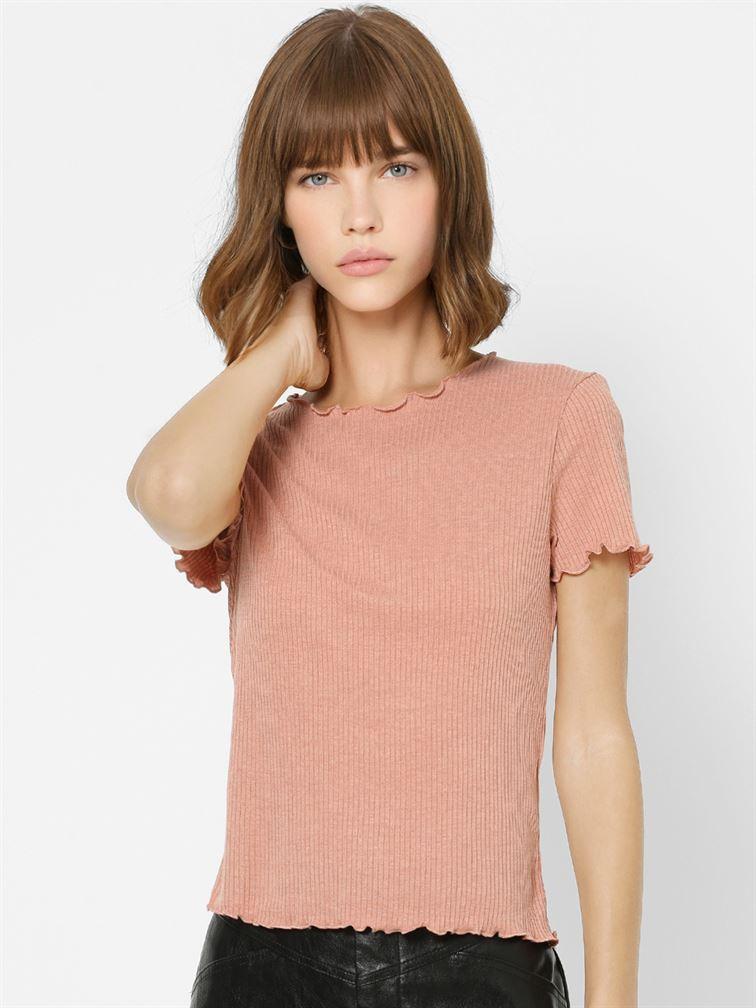 Only Women Casual Wear Peach Top