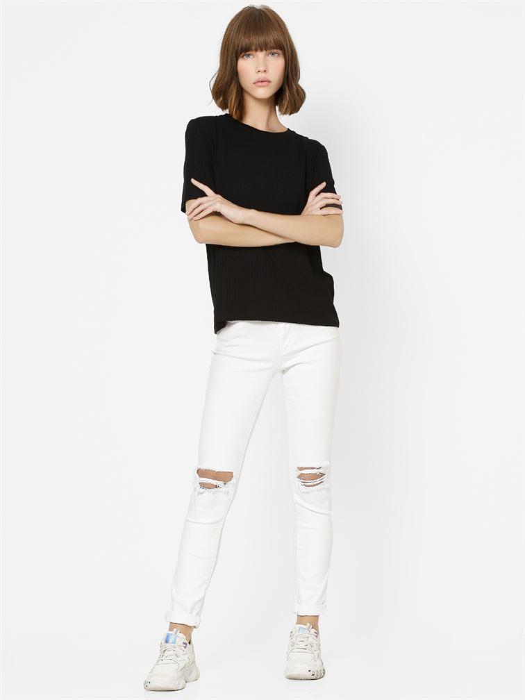 Only Women Casual Wear Black T-Shirt