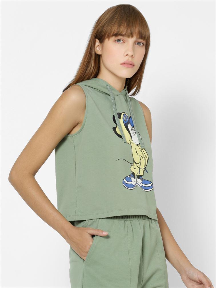 Only Women Casual Wear Green Crop Length Sweatshirt