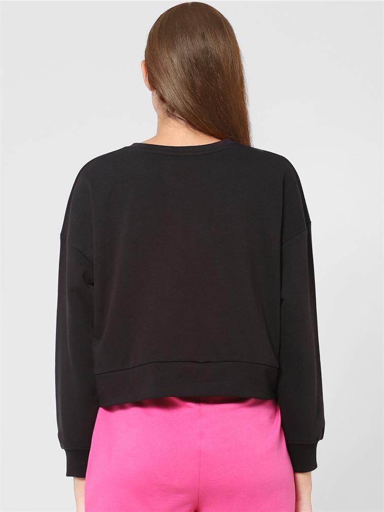 Only Women Casual Wear Black Sweatshirt