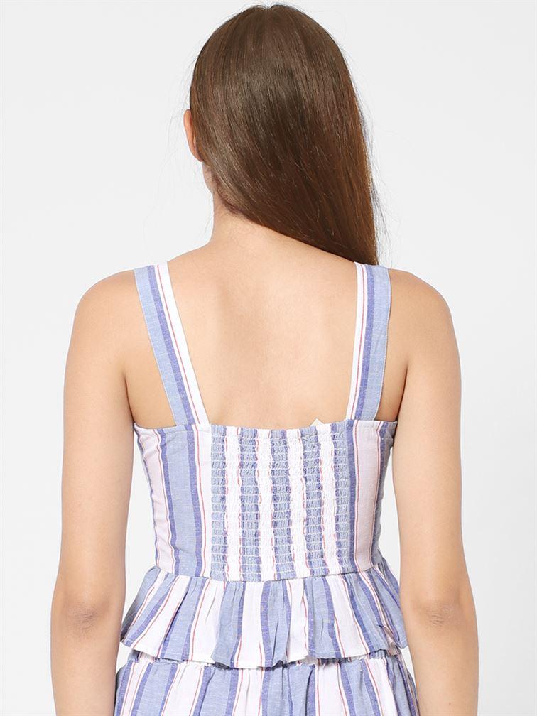 Only Women Casual Wear Blue Crop Top