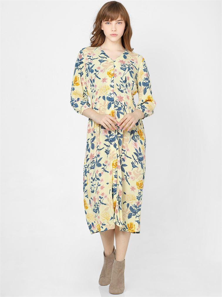 Only Women Casual Wear Yellow Shift Dress