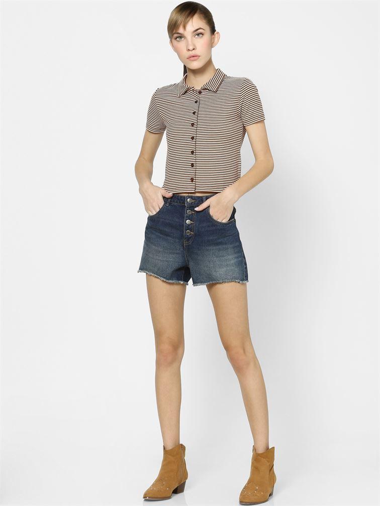 Only Women Casual Wear Brown Crop Length T-Shirt