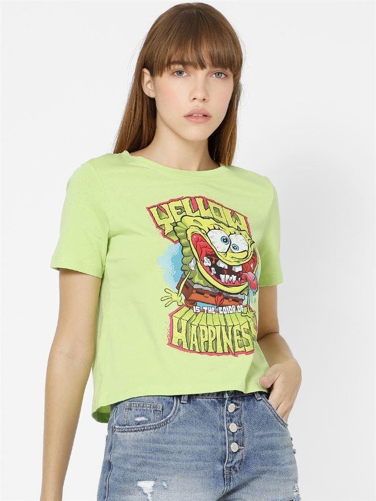 Only Women Casual Wear Green Crop Length T-Shirt