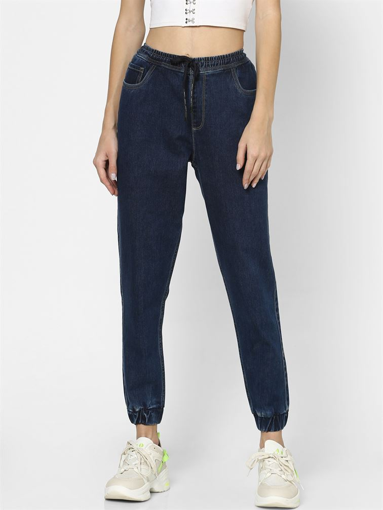 Only Women Casual Wear Navy Blue Jogger Jeans