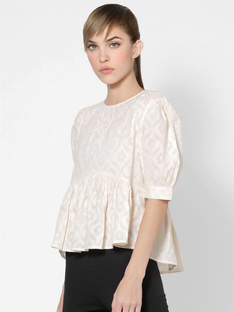 Only Women Casual Wear Off White Peplum Top