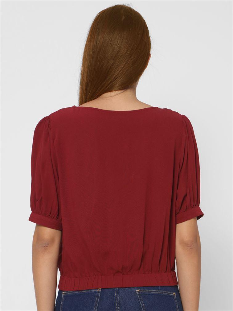 Only Women Casual Wear Maroon Top