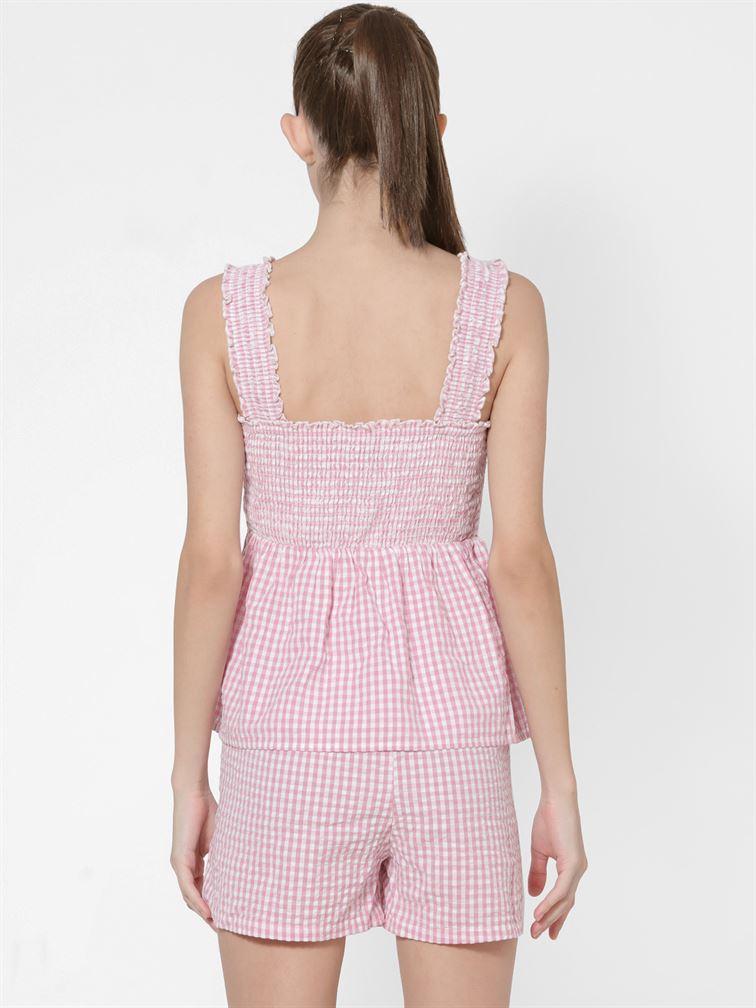 Only Women Casual Wear Pink Peplum Top
