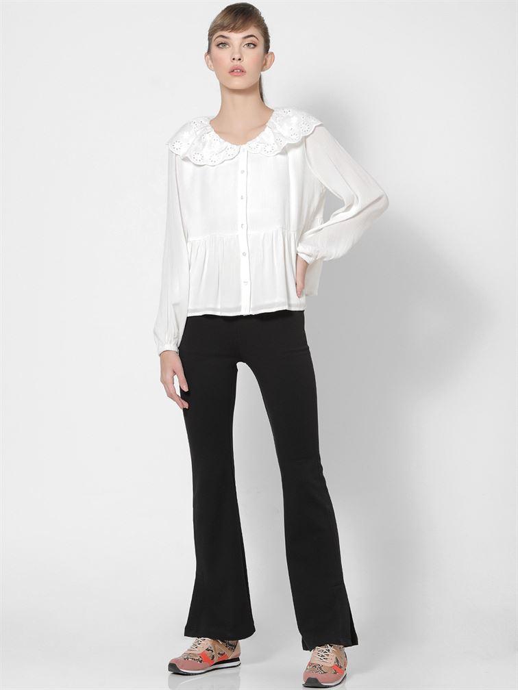 Only Women Casual Wear White Peplum Shirt