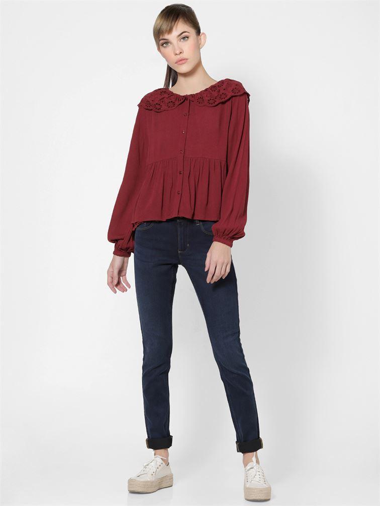 Only Women Casual Wear Maroon Peplum Shirt