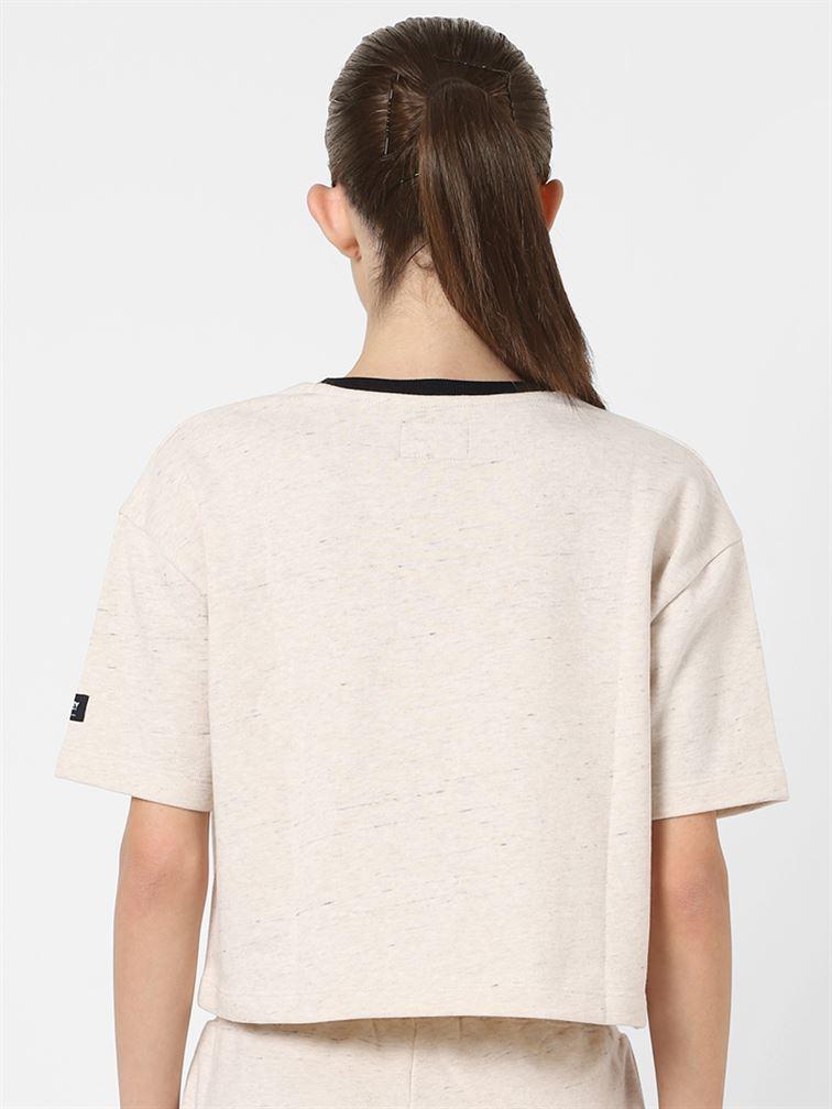 Only Women Casual Wear Beige Crop Top