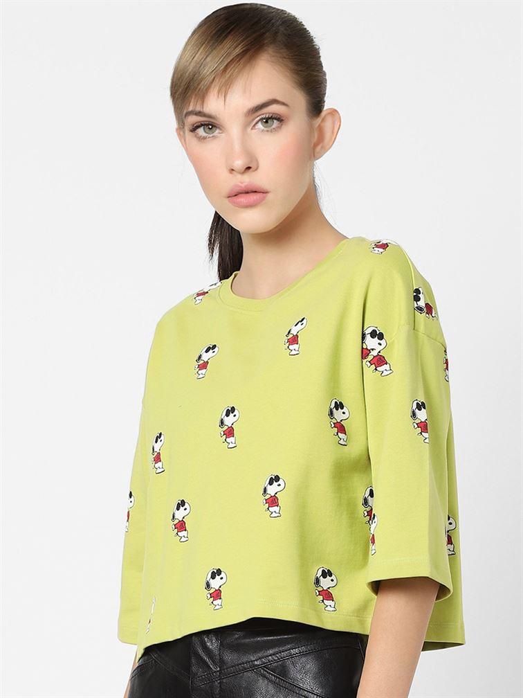 Only Women Casual Wear Green Crop Top