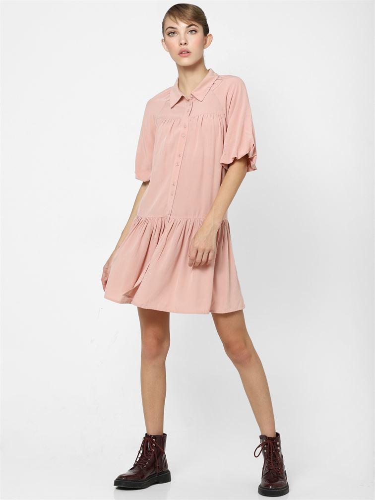 Only Women Casual Wear Pink Flared Dress