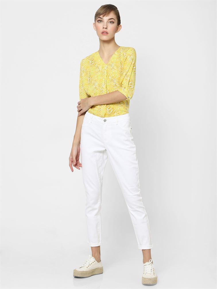 Only Women Casual Wear Yellow Regular Top