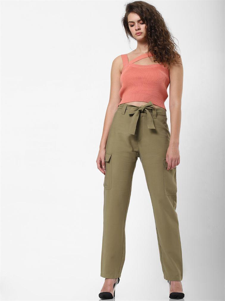 Only Women Casual Wear Green Cargo Pant