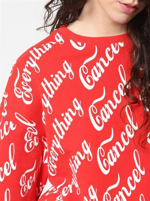 Only Women Casual Wear Red Sweatshirt