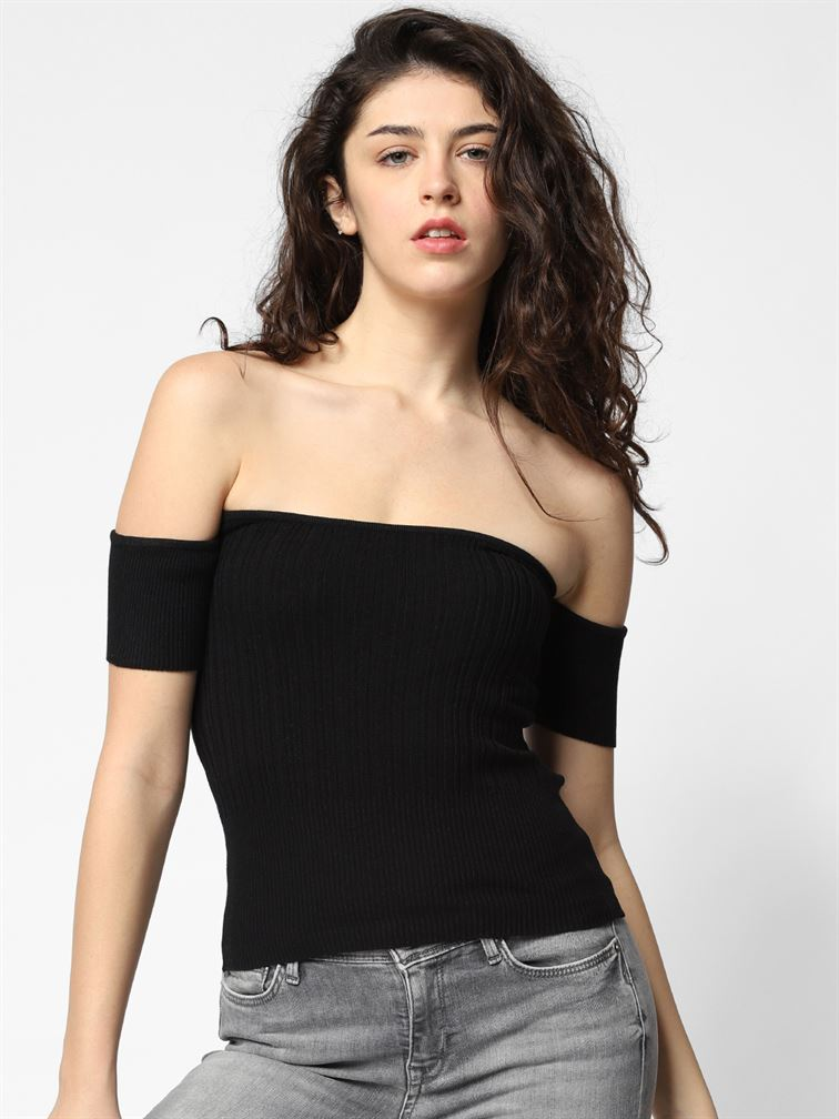 Only Women Casual Wear Black  Tube Top