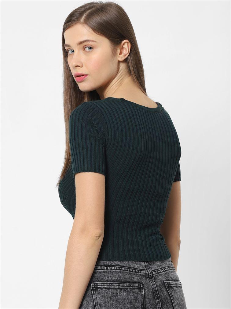 Only Women Casual Wear Dark Green Wrap Top