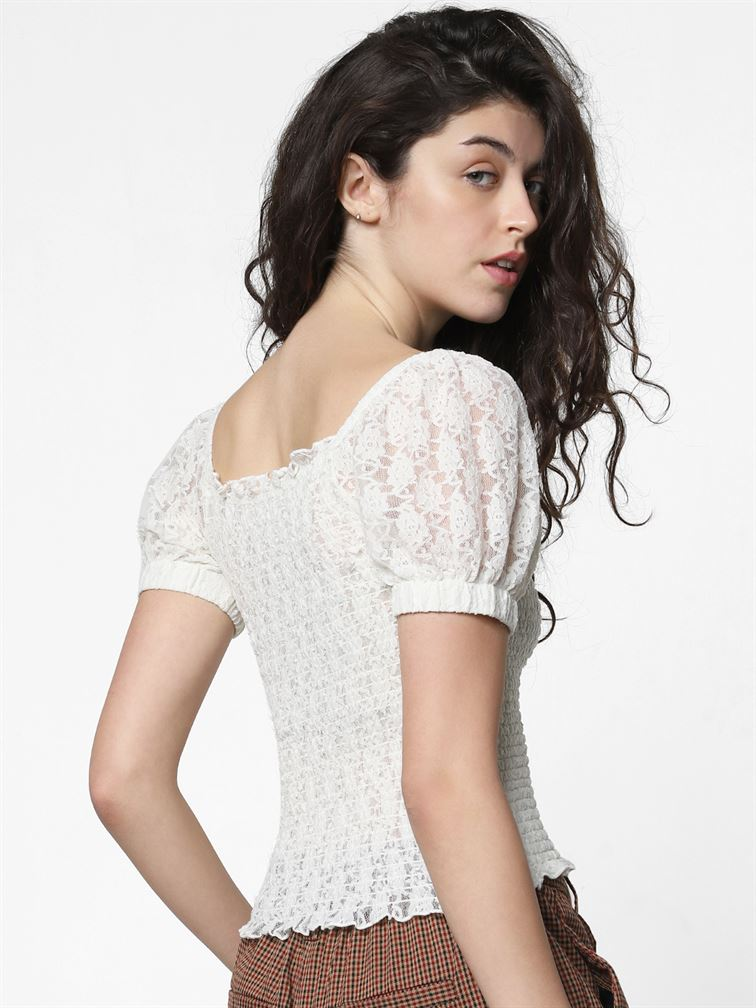 Only Women Casual Wear White Blouson Top