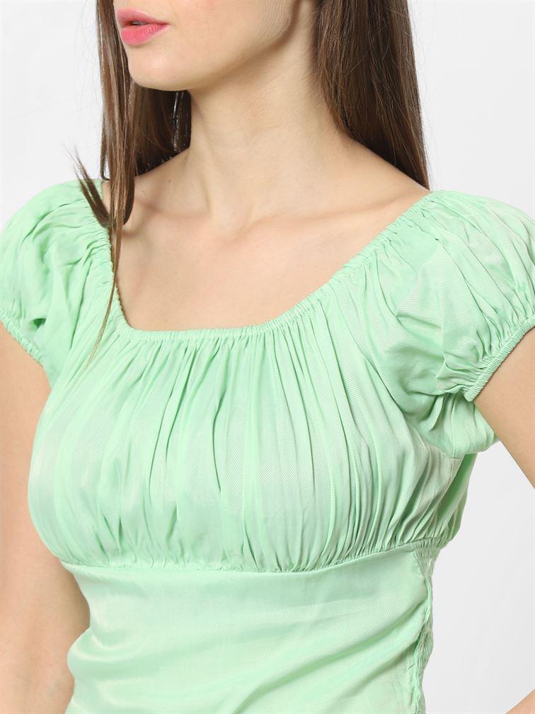 Only Women Casual Wear Green Blouson Top