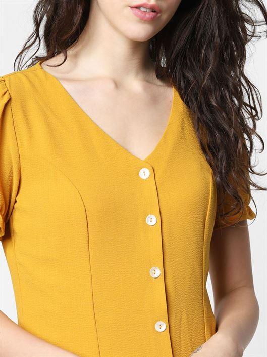Only Women Casual Wear Yellow Blouson Top
