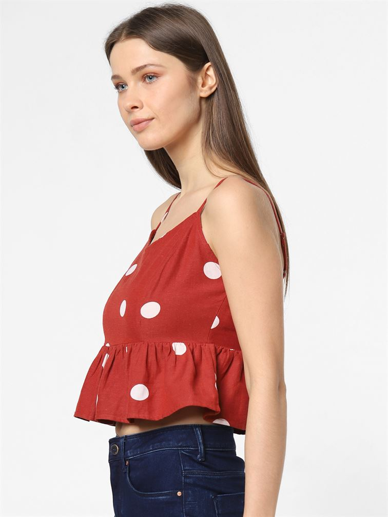 Only Women Casual Wear Red Tank Top