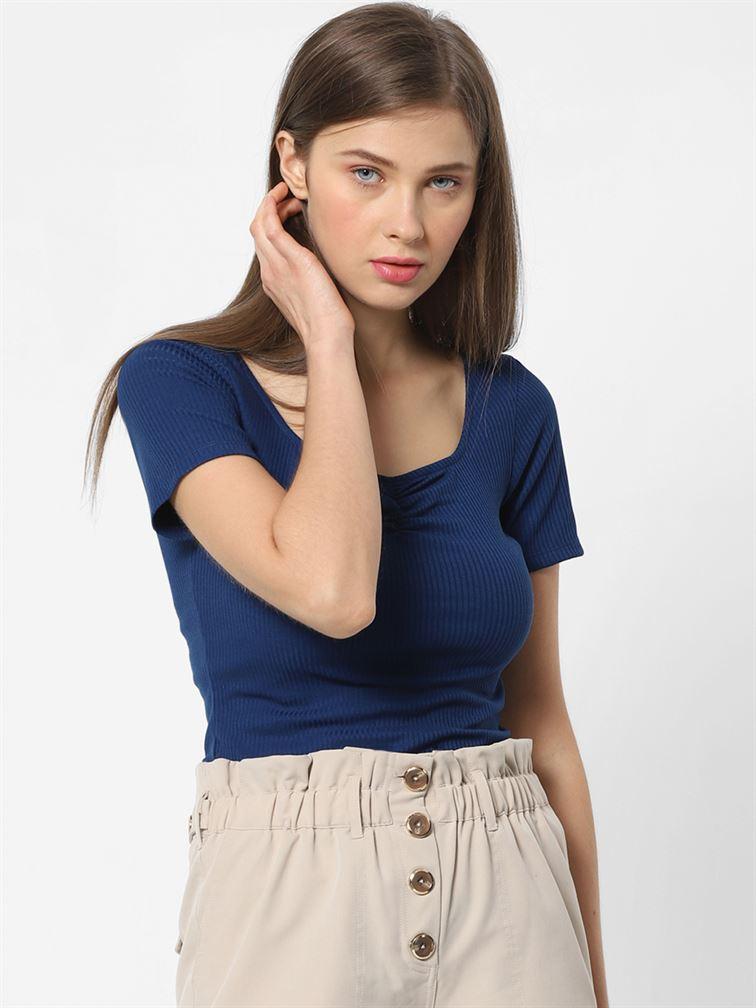 Only Women Casual Wear Royal Blue Crop Top