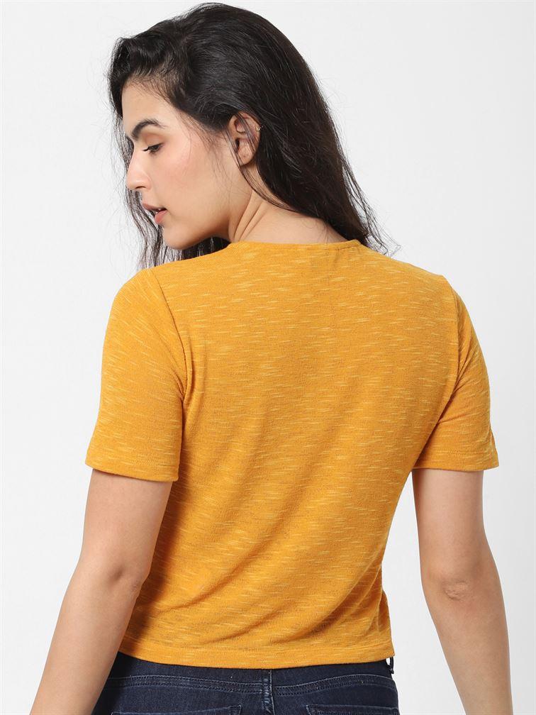 Only Women Casual Wear Yellow Wrap Top