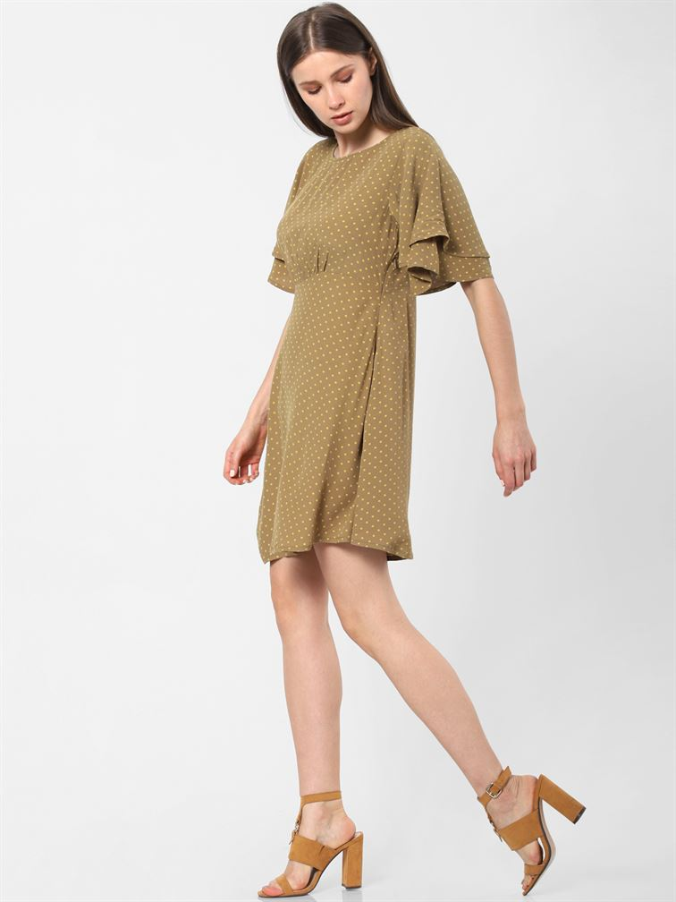 Only Women Casual Wear Olive Green Fit & Flare Dress