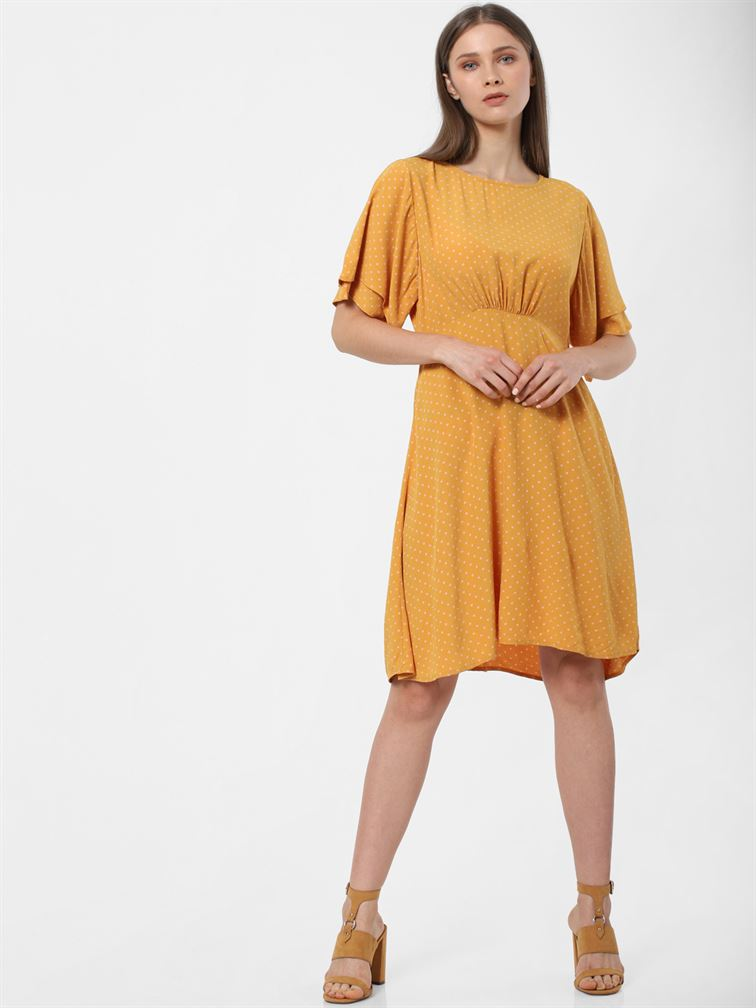 Only Women Casual Wear Yellow Fit & Flare Dress