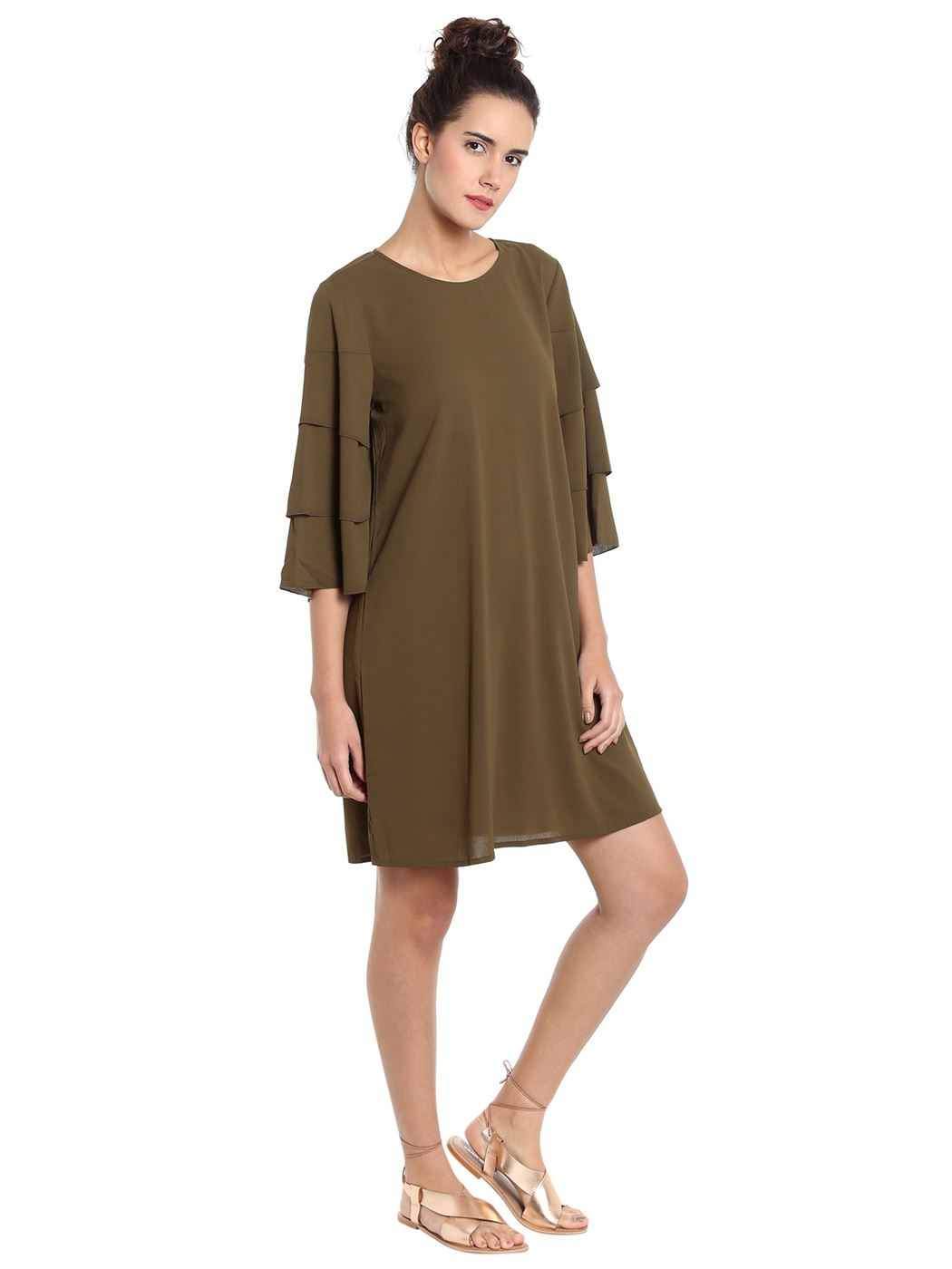 Vero Moda Women's 3/4th Sleeve Green Dress