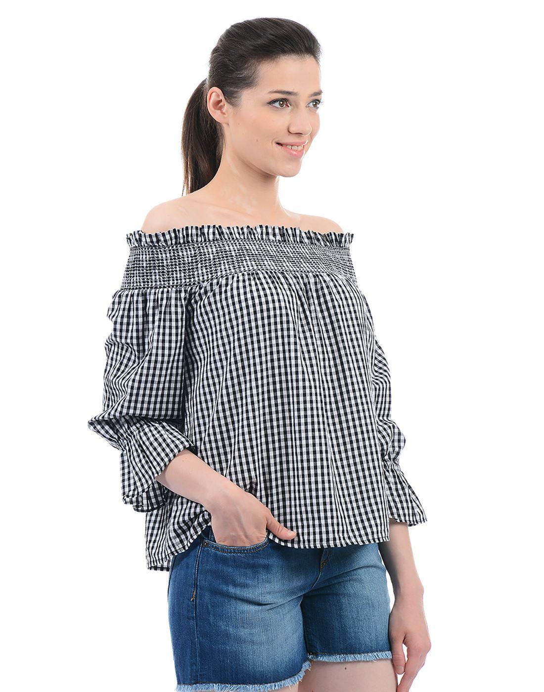 Vero Moda Women Checkered Casual Wear Black Top