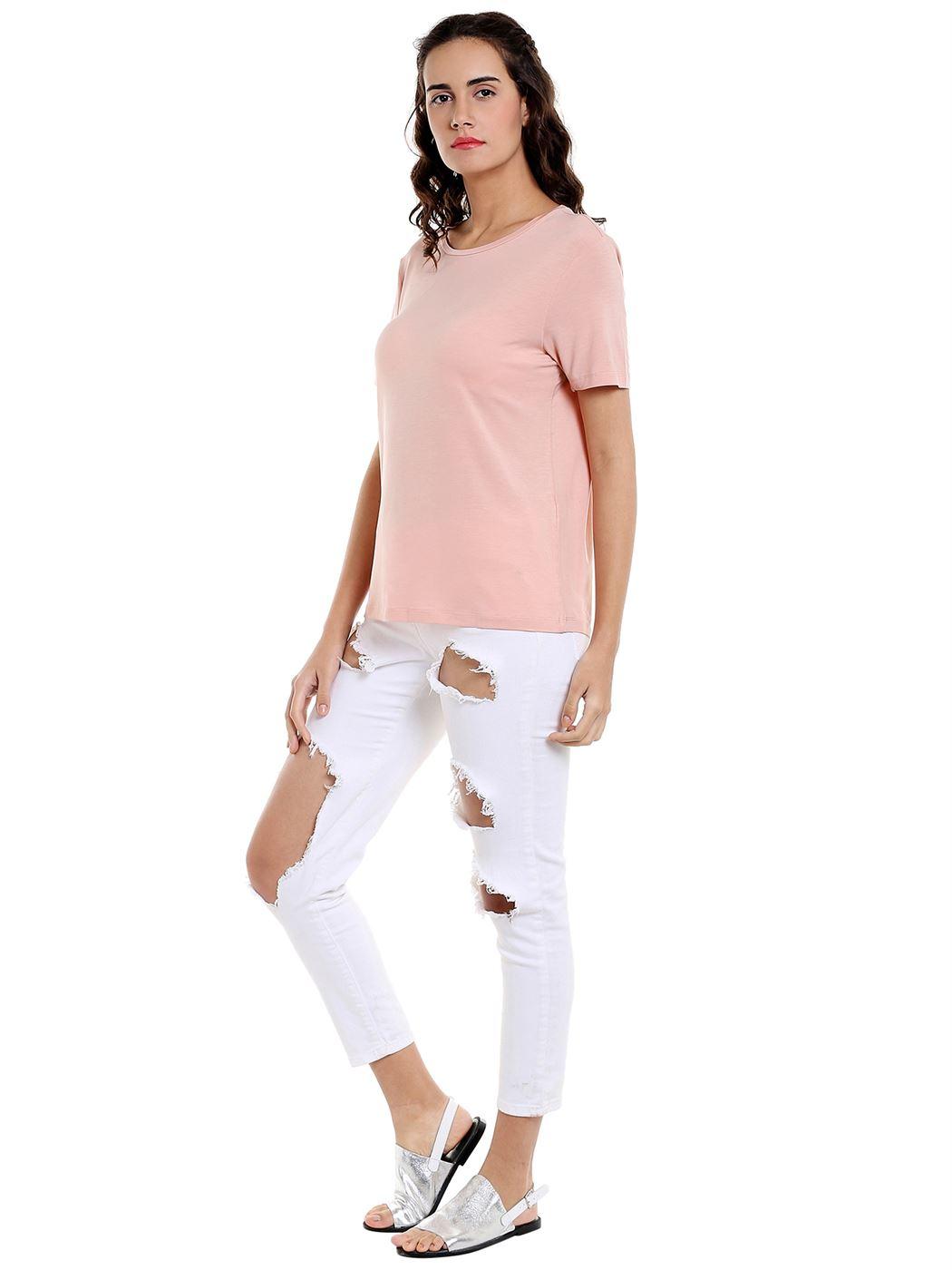 Vero Moda Women's Half Sleeve Pink Top