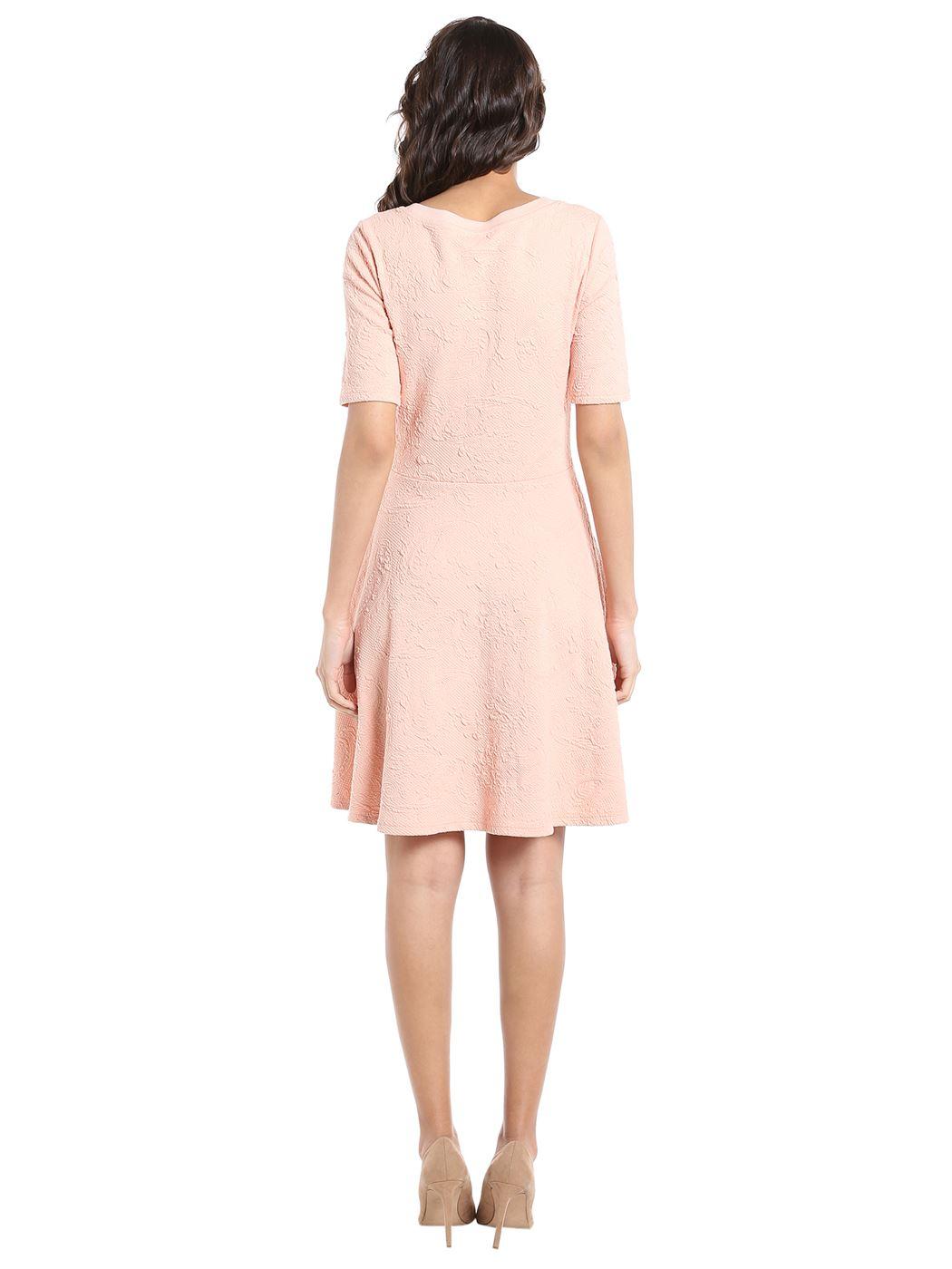 Vero Moda Women's Half Sleeve Pink Dress